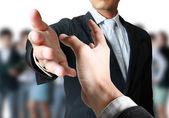 Helpen hand in het bedrijfsleven — Stockfoto