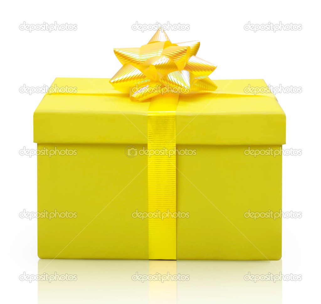 Yellow gift box  isolated on white background — Stock Photo #10413616