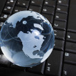 Globe on keyboard - Foto de Stock