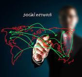 Drawing social network — 图库照片