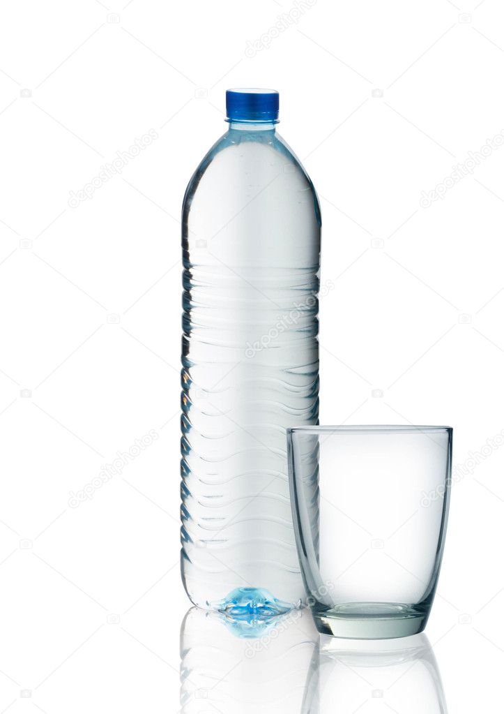 Bottle of water and glass isolated on white background  Stock Photo #10562771