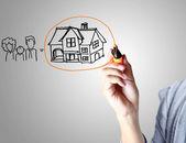 Rita ett hus — Stockfoto