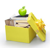 Open yellow gift box — Stock Photo