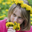 Girl in the field of dandelions — Stock Photo