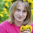 Girl in the field of dandelions — Stock Photo #10703331