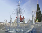 Christmas Ice Sculpture — Stock Photo