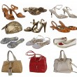 Color shoesand bag collection — Stockfoto
