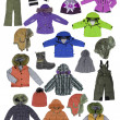 Collection of children's winter clothing — Stock Photo #10507884