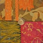 Red orange flower scarf texture — Stock Photo #10509652