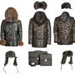 Collection of men winter clothes — Stock Photo