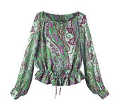 Green flowers blouse — Stock Photo