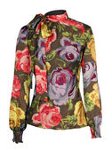 Red flowers blouse — Stock Photo