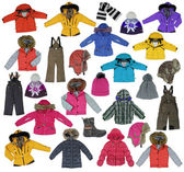 Collection of children's winter clothing — Stock Photo