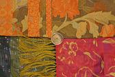 Red orange flower scarf texture — Stock Photo