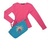 Red sweater shirt blouse and blue bag — Stock Photo