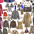 Collection of clothing and accessories — Stock Photo