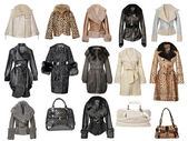 Fur coat collection — Stock Photo
