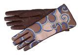 Braun Leder Damenhandschuhe gemustert — Stockfoto