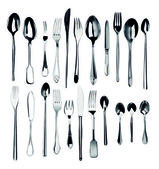 Collection of silver cutlery — Stock Photo