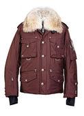 Col en fourrure veste en cuir marron — Photo