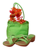 Green bag and shoes — Stock Photo