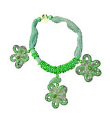 Green flowers bead necklace — Stock Photo