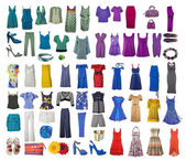 Collection of icons of different clothes and accessories — Stock Photo
