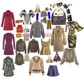 Collectie van iconen van warme kleding voor het internet — Stockfoto