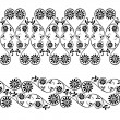 Wedding, lace, border seamless pattern with swirling decorative floral elements - Stock Vector