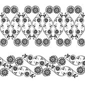 Wedding, lace, border seamless pattern with swirling decorative floral elements — Stock Vector