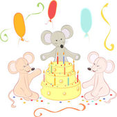 Birthday animals card — Stock Vector