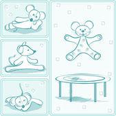Esboço de ratos. animais de cartão — Vetorial Stock