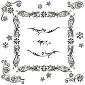 Vector set adorno flor diseño caligráfico. marco con remolinos elementos decorativos de plantas florales — Vector de stock