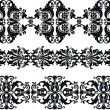 Vector straight tape set with floral motifs on a white background. Seamless tape trims for use with fabric projects, backgrounds or scrapbooking. — Stock Vector