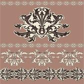 Vector vintage brown, beige background. Design swirling decorative floral elements — Stock Vector