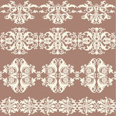 Vintage webbing, lace, border, banner seamless pattern with swirling decorative floral elements. Edge of the fabric, material on a brown background — Stock Vector