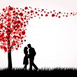 Man, Woman and Love tree — Stock Vector