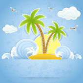 Palm island — Stock Vector