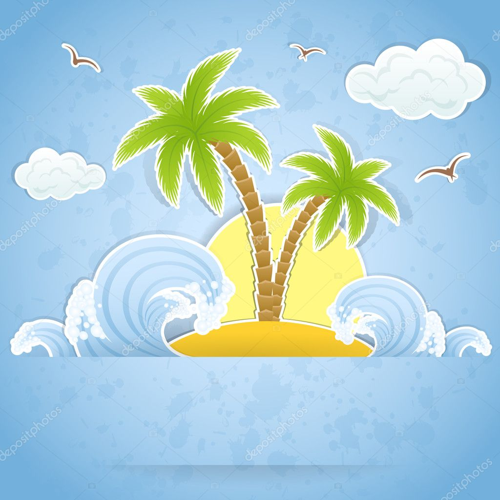Tropical island with palms and waves, illustration — Stock Vector #10275189