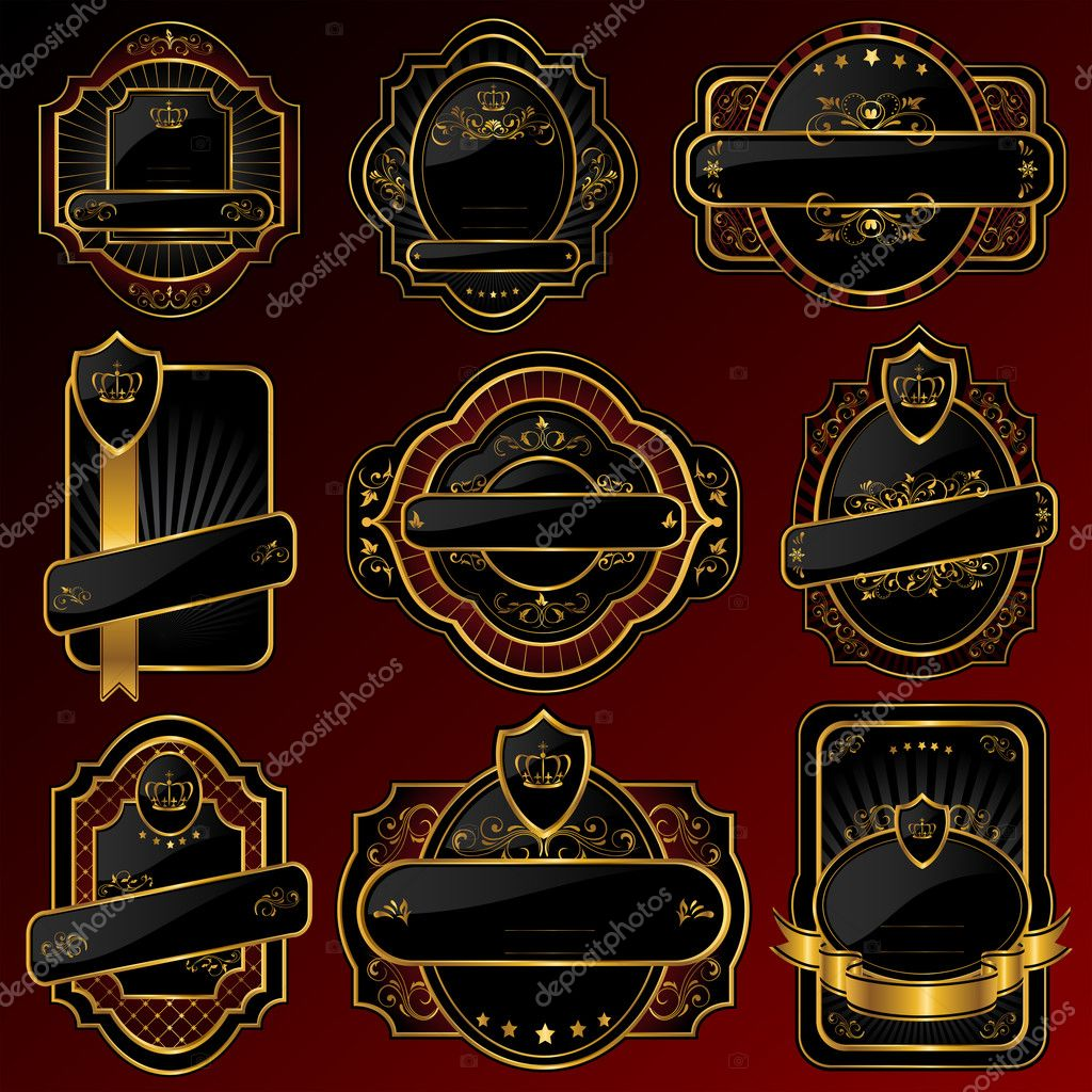 Set of Golden labels, illustration — Stock Vector #10288229