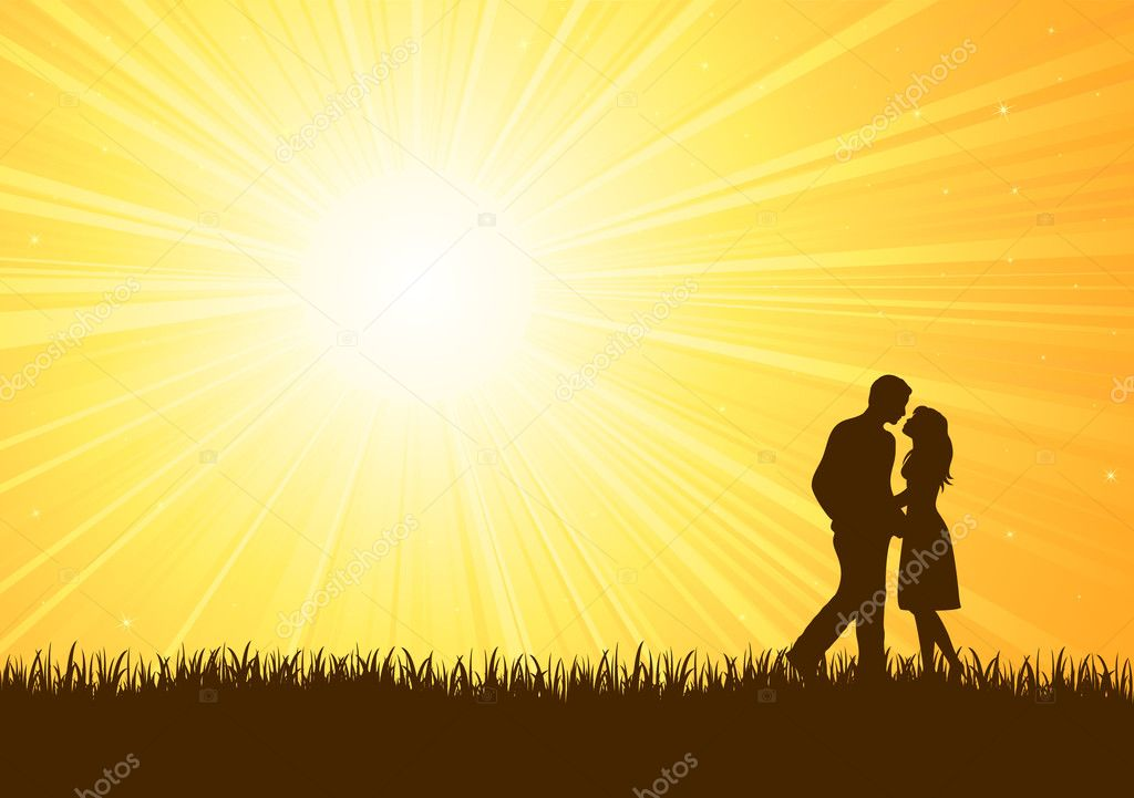 Silhouette of young man and woman on sunburst background, illustration  — Stock Vector #10288264