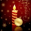 Candle and Christmas ball — Imagen vectorial