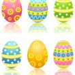 Stock Vector: Set of colorful Easter eggs