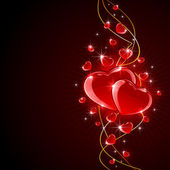 Valentines hearts on dark background — Vettoriale Stock