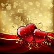 Royalty-Free Stock Vector Image: Valentines hearts on golden background