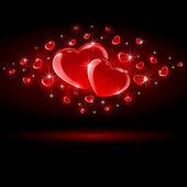 Shiny Hearts on dark background — Stock Vector
