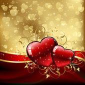 Altın arka plan üzerinde sevgililer kalpler — Stockvector