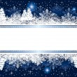 Blue Christmas background with snowflakes and stars - Vettoriali Stock