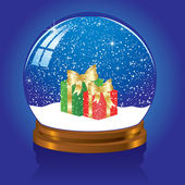 Snow globe with Present — Stock Vector
