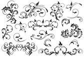Set of Black floral elements — Stock Vector